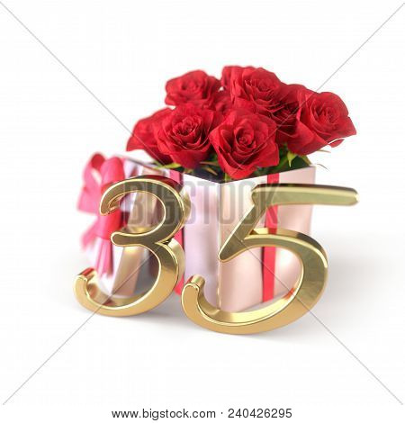 Birthday Concept With Red Roses In Gift Isolated On White Background. 3d Render - Thirty-fifth Birth