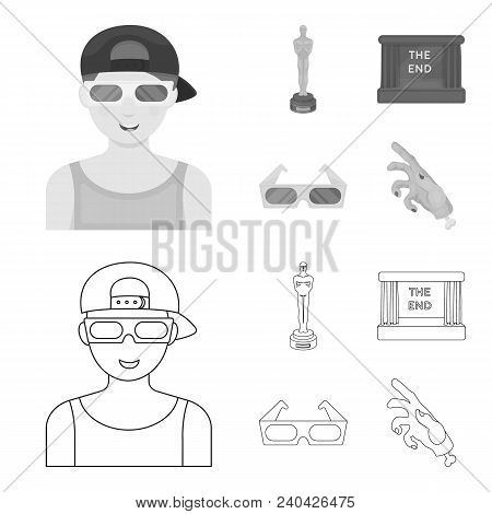 Award Oscar, Movie Screen, 3d Glasses. Films And Film Set Collection Icons In Outline, Monochrome St