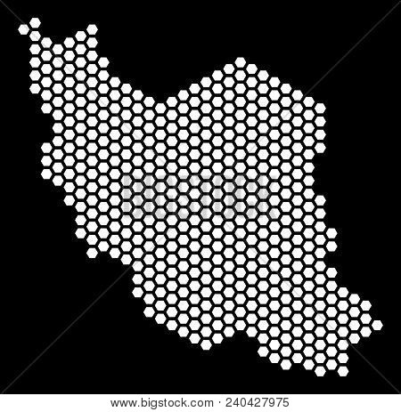 Honeycomb Iran Map. Vector Territorial Scheme On A Black Background. Abstract Iran Map Collage Is Co