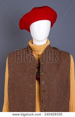 Red Women Beret And Brown Waistcoat. Ladies Casual Attire. Store Of Feminine Fashion Clothing.
