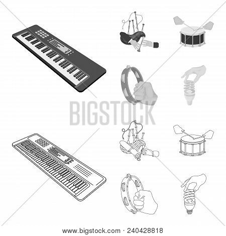 Synthesizer Melodies, Bagpipes Scotch And Other  Icon In Outline, Monochrome Style. Drum, Drum Roll,