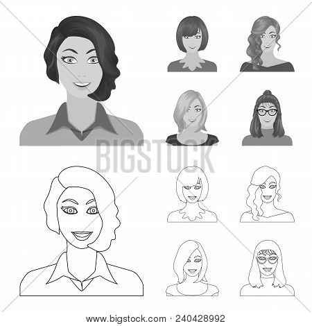 The appearance of a woman with a hairdo, the face of a girl. Face and appearance set collection icons in outline, monochrome style vector symbol stock illustration . poster