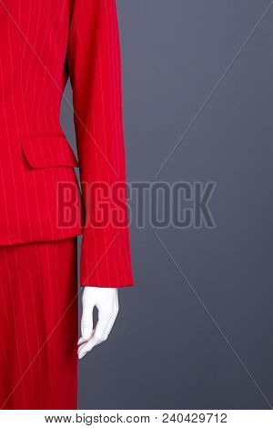 Female Red Formal Suit, Copy Space. Business Style Outfit For Ladies. Boutique Of Elegant Clothes Fo