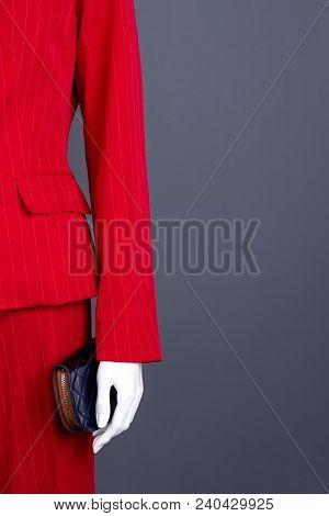 Female Manequin In Elegant Suit, Copy Space. Red Blazer And Trousers For Women. Ladies Business Styl