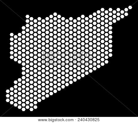 Hex Tile Syria Map. Vector Territory Scheme On A Black Background. Abstract Syria Map Concept Is Des