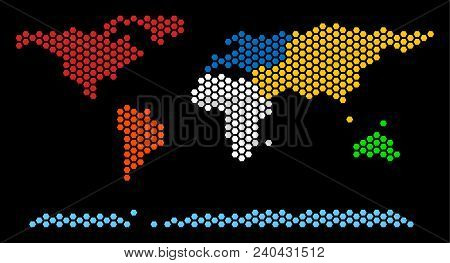 Hexagon World Continent Map. Vector Geographic Scheme On A Black Background. Abstract World Continen