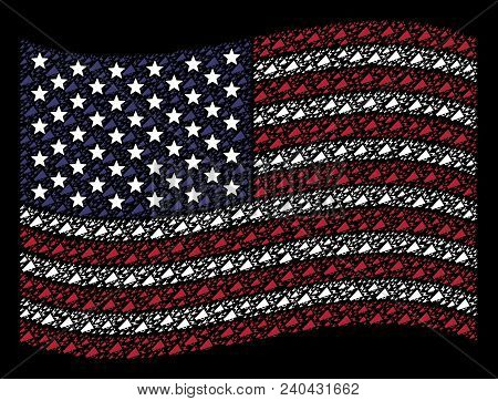 Alert Megaphone Items Are Grouped Into Waving American Flag Abstraction On A Dark Background. Vector