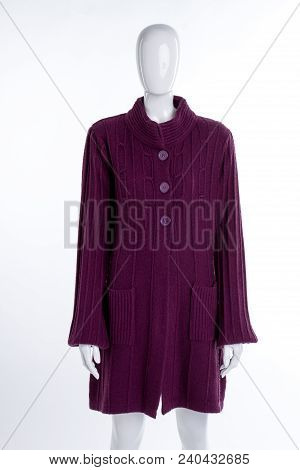 Purple Knitted Cardigan For Women. Warm Patterned Pullover On Female Mannequin, White Background. La