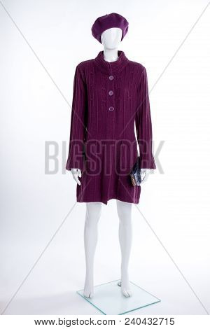Purple Beret And Cardigan For Women. Female Mannequin Dressed In Knitted Fashion Design Pullover. La