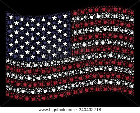 Bug Items Are Grouped Into Waving Usa Flag Mosaic On A Dark Background. Vector Concept Of Usa State
