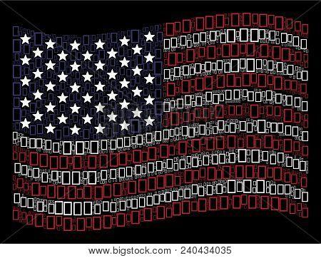 Contour Rectangle Symbols Are Arranged Into Waving United States Flag Stylization On A Dark Backgrou