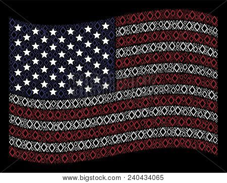 Contour Rhombus Items Are Combined Into Waving United States Flag Stylization On A Dark Background.