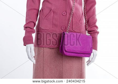 Close Up Sweater, Skirt And Clutch. Female Mannequin Clothed In Pink Pullover And Skirt, White Backg
