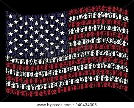 Death Scytheman Symbols Are Grouped Into Waving Usa Flag Stylization On A Dark Background. Vector Co
