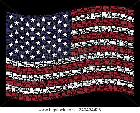 Delivery Lorry Pictograms Are Organized Into Waving Usa Flag Stylization On A Dark Background. Vecto