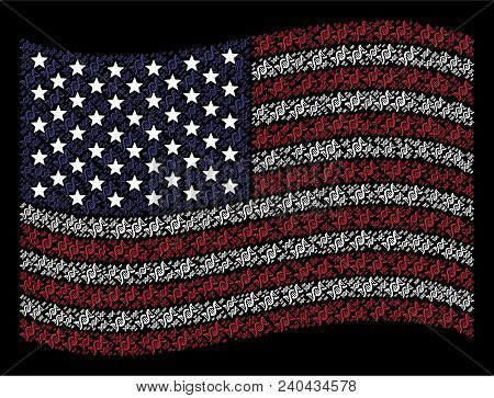 Dna Spiral Items Are Arranged Into Waving United States Flag Stylization On A Dark Background. Vecto