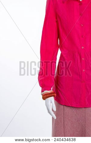 Beautiful Blouse, Skirt And Bracelet. Women Red Long Sleeve Shirt And Skirt, Cropped Image. Female M