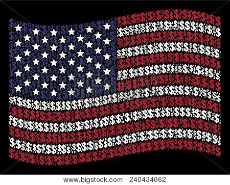 Dollar Icons Are Combined Into Waving American Flag Stylization On A Dark Background. Vector Composi