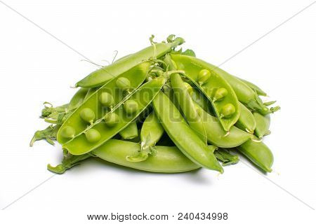 Pile Of Fresh Green Ripe Sugar Snaps, Sweet Peas Copy Space Close Up Isolated On White Background