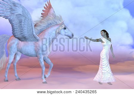 Athena Greek Goddess And Pegasus 3d Illustration - Athena, Daughter Of The Greek God Zeus, Beckons T