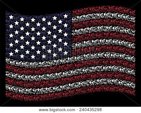 Fart Gases Pictograms Are Composed Into Waving American Flag Mosaic On A Dark Background. Vector Col