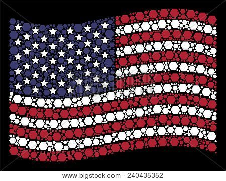 Filled Hexagon Icons Are Arranged Into Waving Usa Flag Stylization On A Dark Background. Vector Coll