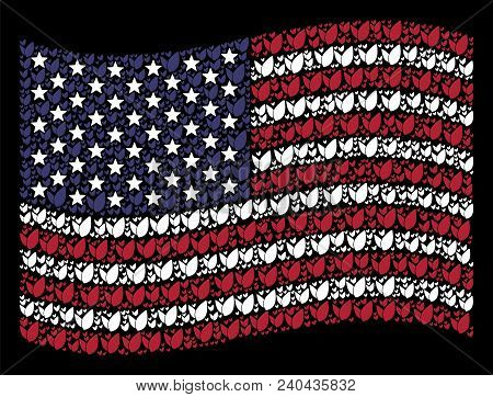 Floral Sprout Symbols Are Composed Into Waving Usa Flag Stylization On A Dark Background. Vector Con