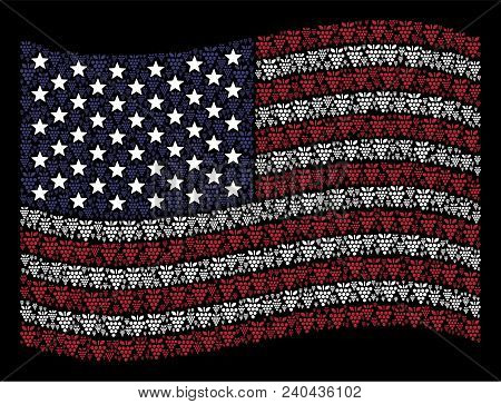 Grapes Symbols Are Arranged Into Waving Usa Flag Stylization On A Dark Background. Vector Compositio