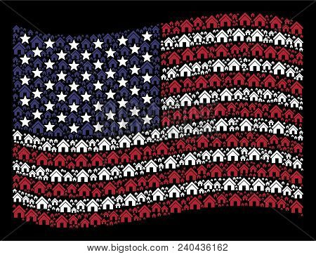 Home Pictograms Are Organized Into Waving United States Flag Stylization On A Dark Background. Vecto