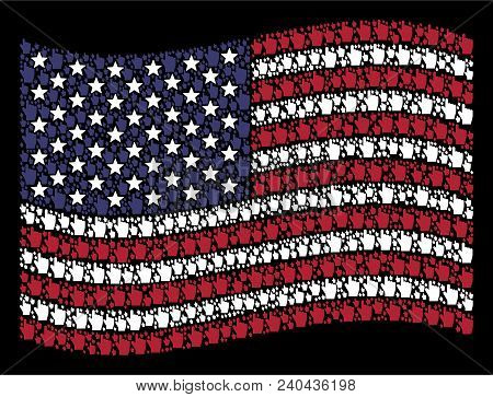 Index Finger Pictograms Are Combined Into Waving American Flag Stylization On A Dark Background. Vec