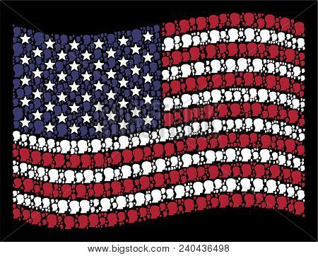 Man Head Profile Symbols Are Arranged Into Waving United States Flag Stylization On A Dark Backgroun