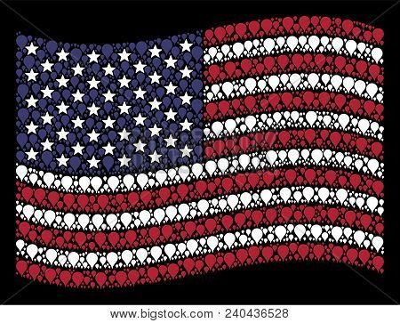 Map Pointer Items Are Combined Into Waving Usa Flag Stylization On A Dark Background. Vector Concept