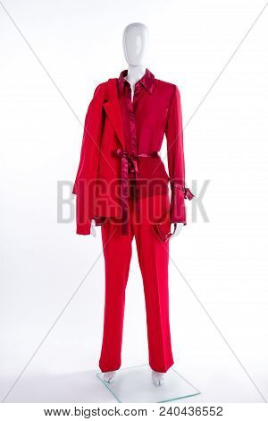 Red Blazer, Trousers, Blouse And Wallet. Female Mannequin Clothed In Red Elegant Suit. Women Classy