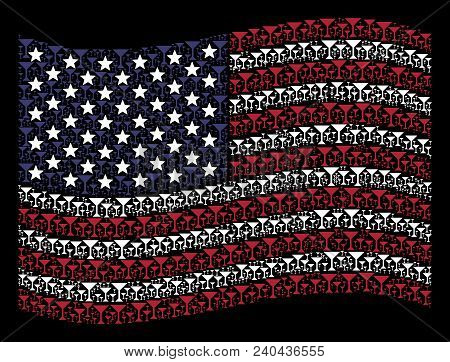 Martini Glass Icons Are Grouped Into Waving Usa Flag Stylization On A Dark Background. Vector Compos