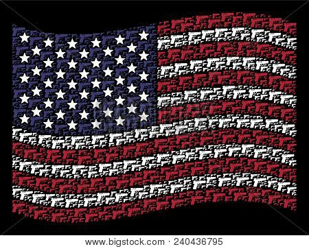 Pistol Gun Pictograms Are Arranged Into Waving United States Flag Stylization On A Dark Background.