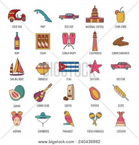 Cuba Icon Set. Cartoon Cuba Set Vector For Web Design Isolated On White Background