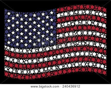 Six Pointed Star Items Are Organized Into Waving United States Flag Abstraction On A Dark Background