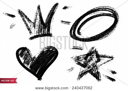 Vector Set Of Hand Drawn Dry Brush Symbols. Black Charcoal Hand Drawn Crown, Heart, Star And Circle