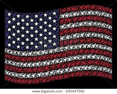 Space Rocket Launch Items Are Composed Into Waving United States Flag Abstraction On A Dark Backgrou