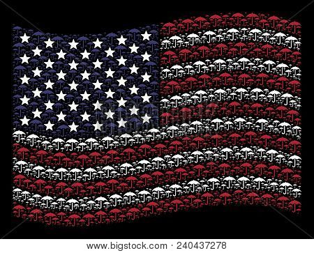 Umbrella Items Are Composed Into Waving United States Flag Stylization On A Dark Background. Vector