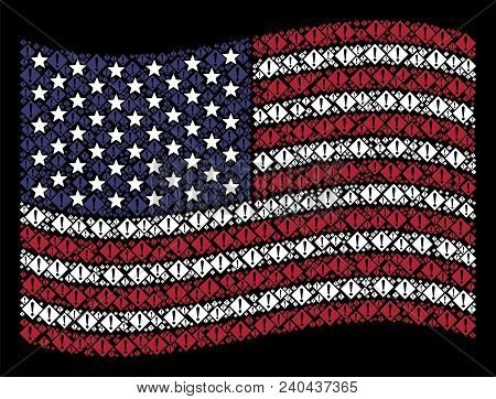 Warning Items Are Composed Into Waving American Flag Stylization On A Dark Background. Vector Collag