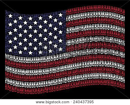Wine Bottle Icons Are Arranged Into Waving Usa Flag Stylization On A Dark Background. Vector Concept