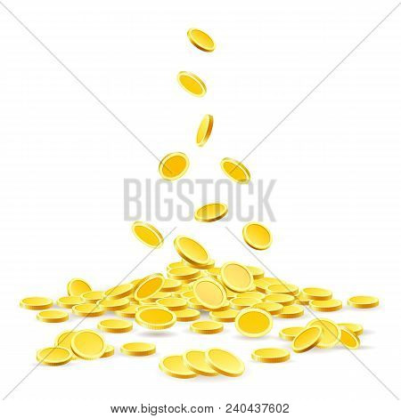 Coins Heap. Gold Coins Money Pile Vector Illustration, Ancient Currency Treasure Isolated On White B