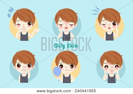 Man With Oily Skin Problem On The Blue Background