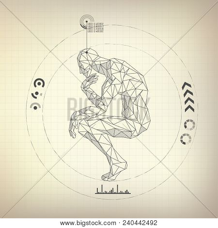 Graphic Of Great Thinker Presented In Polygon Man Style