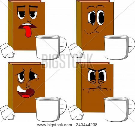 Books Holding Big Mug. Cartoon Book Collection With Sad, Bored And Angry Faces. Expressions Vector S