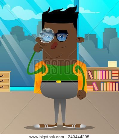 Schoolboy Holding A Magnifying Glass. Vector Cartoon Character Illustration.