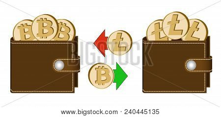 Exchange Bitcoin To Litecoin Between Wallets On A White Background , Exchange Cryptocurrency In The