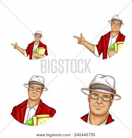 Vector Avatar Of Pop Art Pretty Fat Man With Shopping Bags. Networking Element Of Obese Handsome Cha