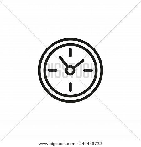 Round Clock Line Icon. Time, Hour, Watch. Timing Concept. Can Be Used For Topics Like Business Hours